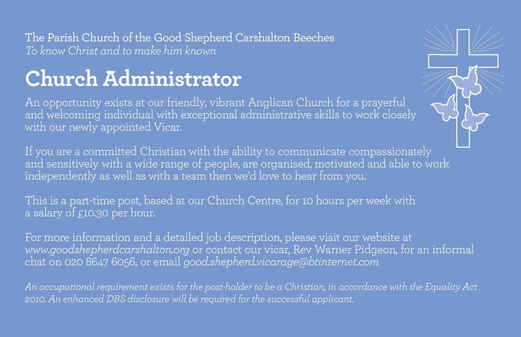 administrator advert the good shepherd carshalton february 2015 page 001 - Church Administrator Salary