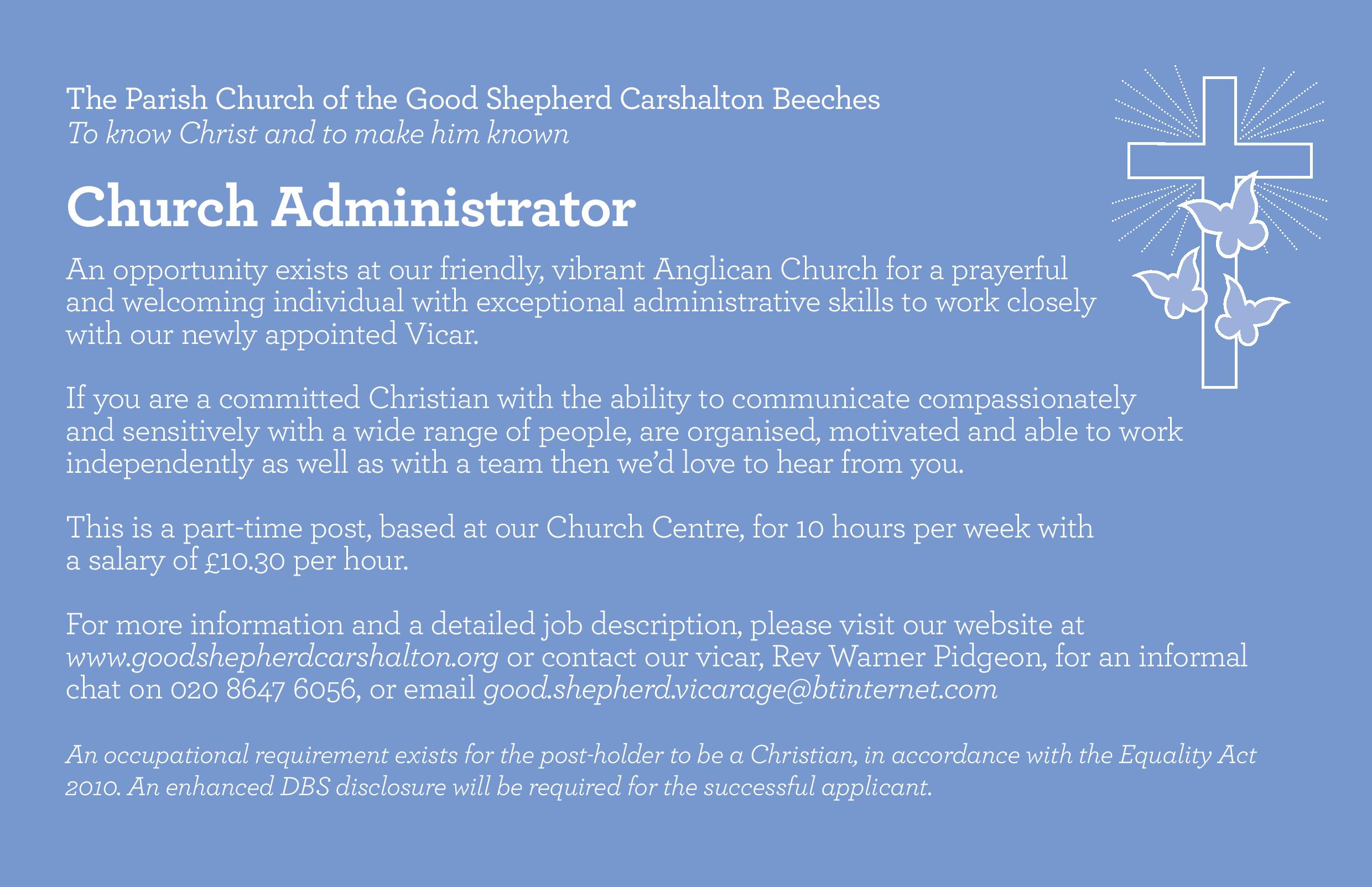 recent events administrator advert the good shepherd carshalton february 2015 page 001 church administrator - Church Administrator Salary
